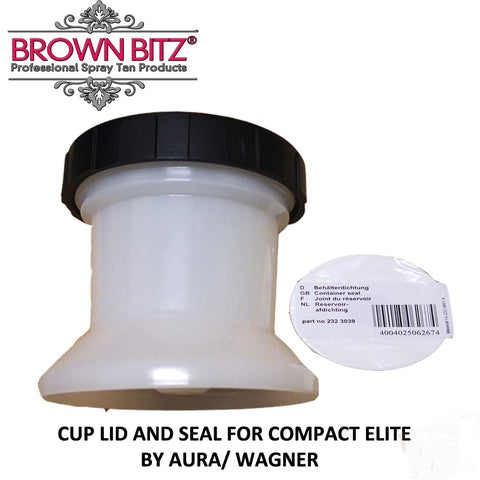 Compact Elite Spare spray tan solution pot with lid and spare seal by Aura tanning