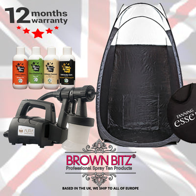 Aura compact elite professional spray tan package machine tent and solutions - Brown Bitz                                                                                                                                                            .