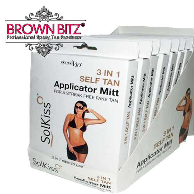 Self tanning mitt 3 in 1 by Solkiss tan applicator mitts - Brown Bitz                                                                                                                                                            .