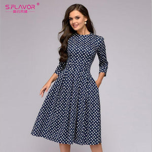 S.FLAVOR Elegant A-Line Dress Vintage Printing Slim Party Dress Three Quarter Sleeve Women Autumn Casual Vestidos Midi Dress
