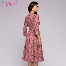 Carica l'immagine nel visualizzatore di Gallery, S.FLAVOR Elegant A-Line Dress Vintage Printing Slim Party Dress Three Quarter Sleeve Women Autumn Casual Vestidos Midi Dress