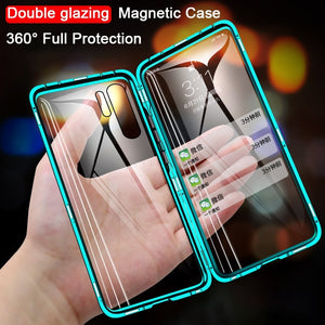 Magnetic Metal Double Side Glass Phone Case For Huawei Honor Mate 30 20 10 Lite P30 P20 Pro 8X 9X Y9 Prime P Smart Z 2019 Cover