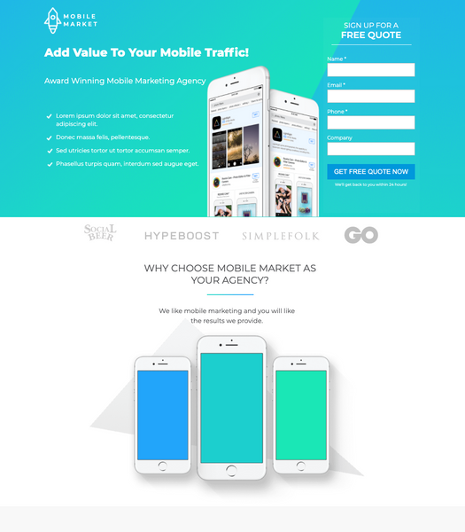 Mobile App Marketing Agency Unbounce Template