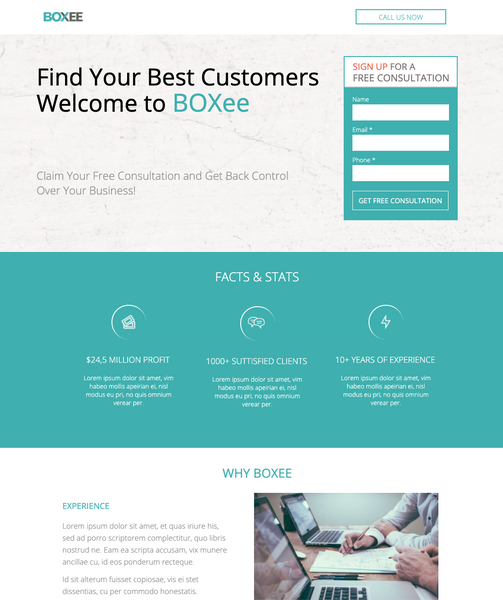 Financial Consultant Business Unbounce Template