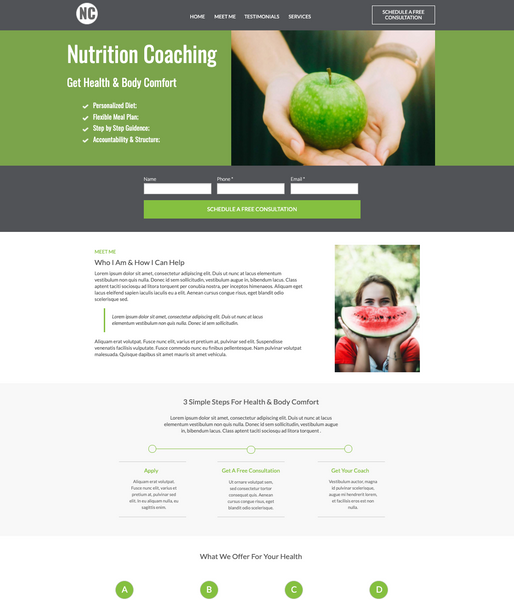 Nutrition Coach Business Unbounce Template