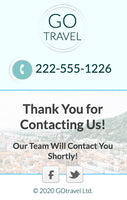 Travel Agency Unbounce Template - form confirmation dialog - mobile version