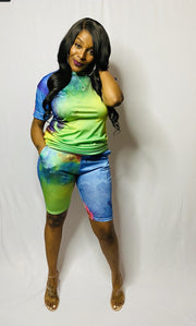 Tye Dye Effect 2pc Set (Green)
