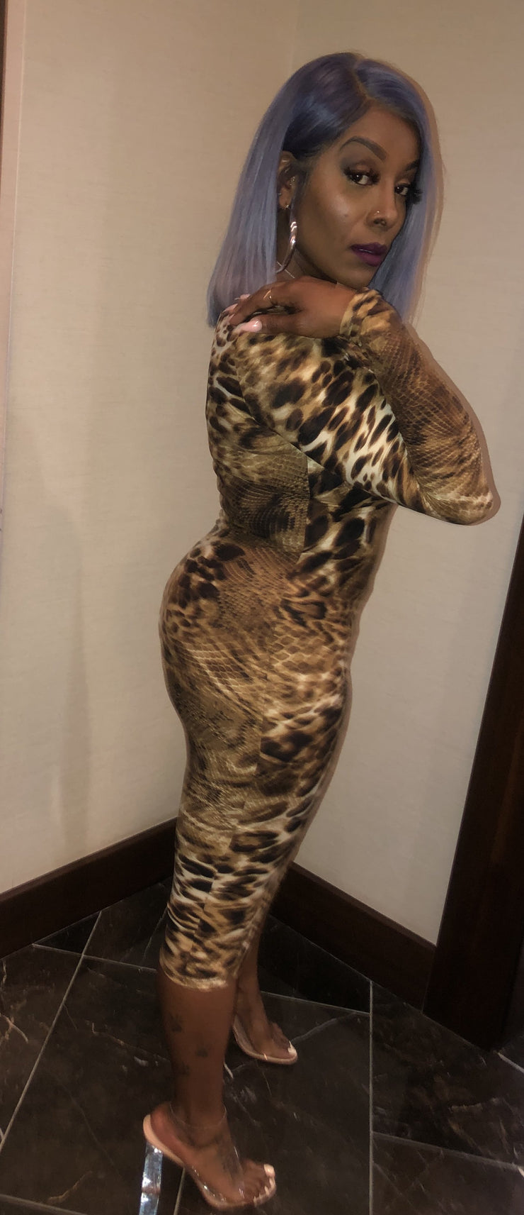 Safari Long Sleeve Body con Dress