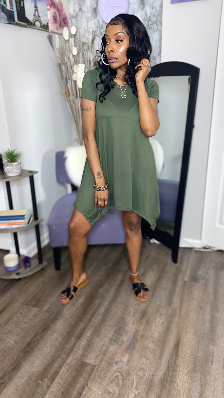 High-Low Dress Olive