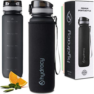 Water Bottle with Time Marker - Large 1 Liter 32 Oz BPA Free Water Bottle - Leak Proof & No Sweat