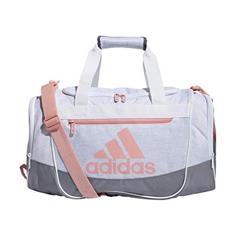 adidas Unisex Defender III Small Duffel Bag, Jersey White/ Grey/ Glory Pink, Small