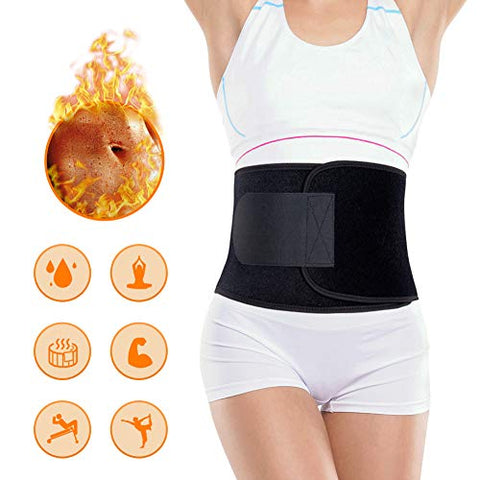 Portzon Waist Trimmer for Men & Women, Neoprene Stomach Wrap, Exercise & Fitness Waist Belt Adjustable Slimmer Body Shaper