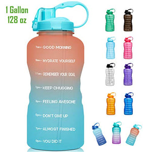 Large 1 Gallon/128oz (When Full) Motivational Water Bottle with Time Marker & Straw, Leakproof