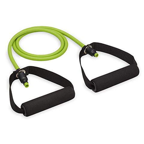 FILA Accessories Resistance Band with Handles - Exercise Band Workout Cord with Comfort-Foam Handles for Fitness Strength Training | Ideal for Home Gym, Women, Men (Light | Lime)