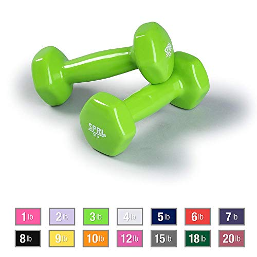 Spri Dumbbells Deluxe Vinyl Coated Hand Weights All-Purpose Color Coded Dumbbell For Strength Training (3 pounds)