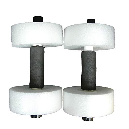 Kiefer Deluxe Foam Medium Water Dumbbells with 12-Inch Bar and 6 x 2 1/2-Inch Foam Floats (1-Pair), White