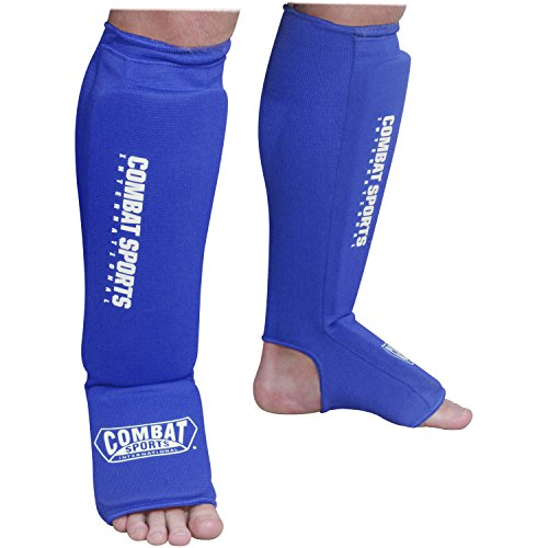 Combat Sports Washable MMA Training Instep Padded Shin Guards, Large, Blue