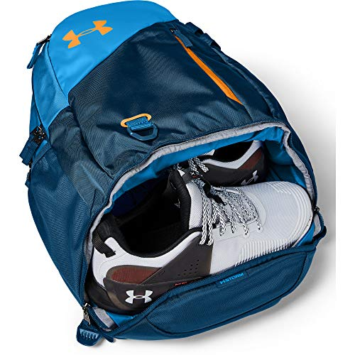 Under Armour Adult Hustle 4.0 Backpack , Graphite Blue (581)/Golden Yellow , One Size