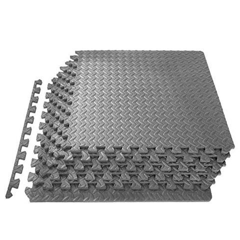 "ProsourceFit Extra Thick Puzzle Exercise Mat 1/2"", EVA Foam Interlocking Tiles for Protective, Cushioned Workout Flooring for Home and Gym Equipment, Grey"