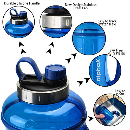 AlphaX Large 108oz/3.2L Daily Water Bottle & Straw, Reusable Water Jug with Tracking & Time Marker