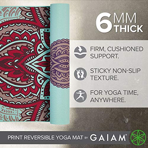 Gaiam Yoga Mat Premium Print Reversible Extra Thick Non Slip Exercise & Fitness Mat for All Types of Yoga, Pilates & Floor Workouts, Zara Rogue, 6mm