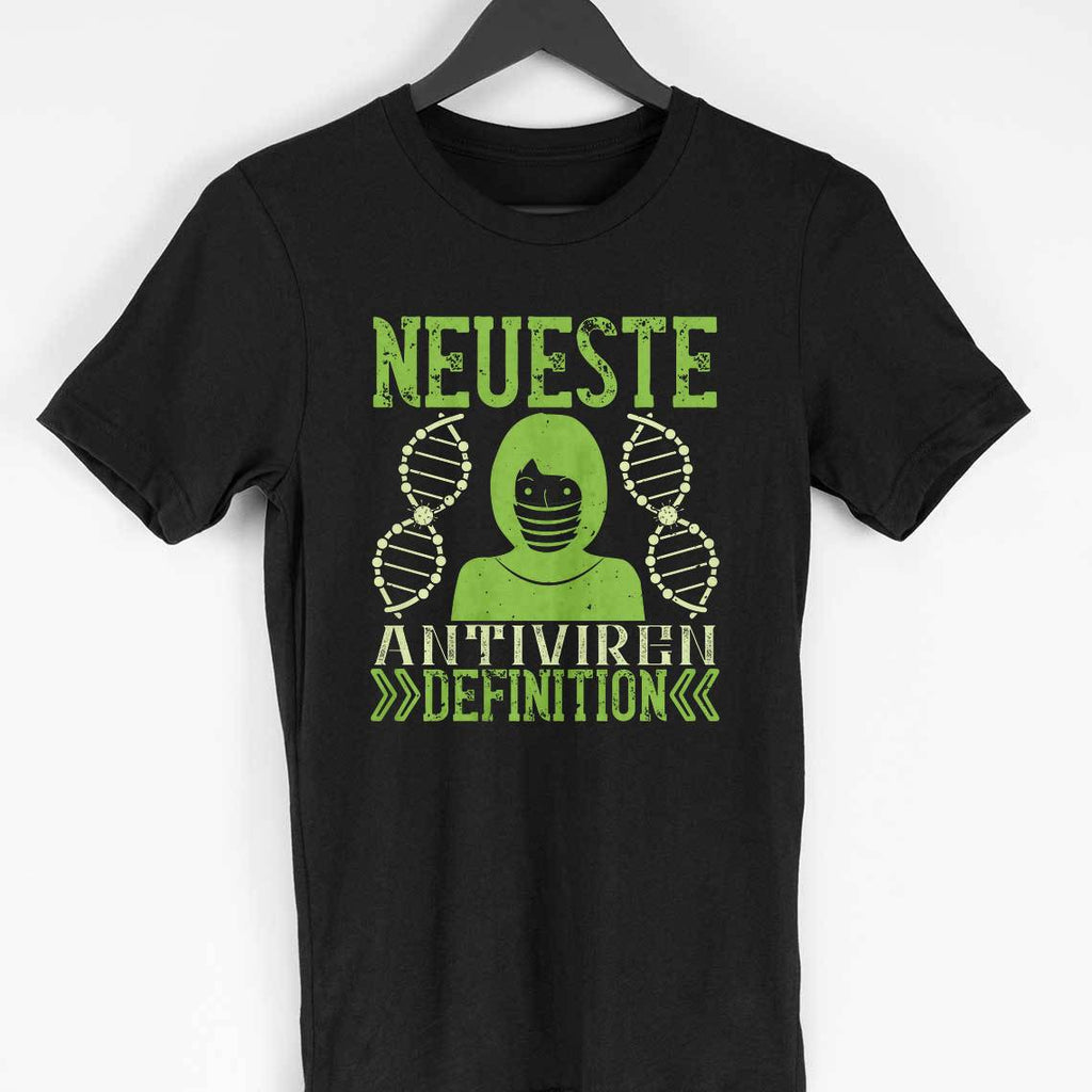 NEUESTE ANTIVIREN -BLACK MEN ROUND NECK T-SHIRT