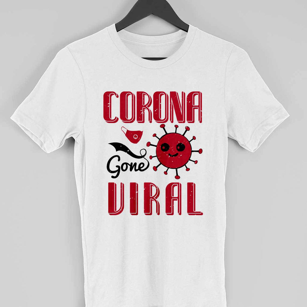 CORONA GONE VIRAL -WHITE MEN ROUND NECK T-SHIRT