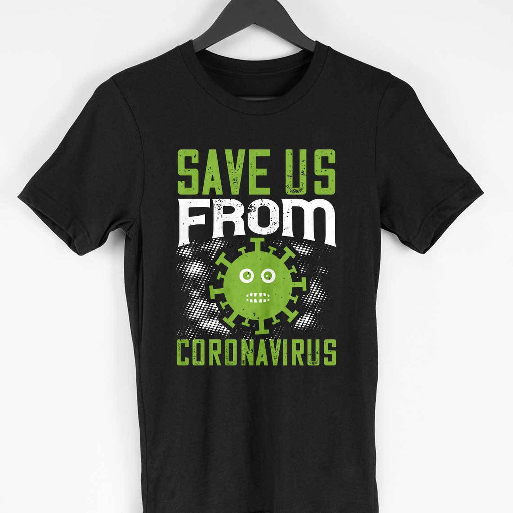 SAVE US FROM CORONA -BLACK MEN ROUND NECK T-SHIRT