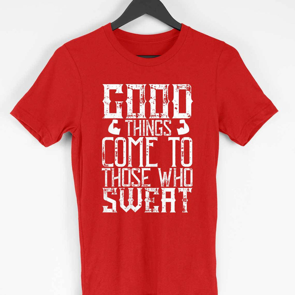 GOOD THINGS COMES -RED MEN ROUND NECK T-SHIRT