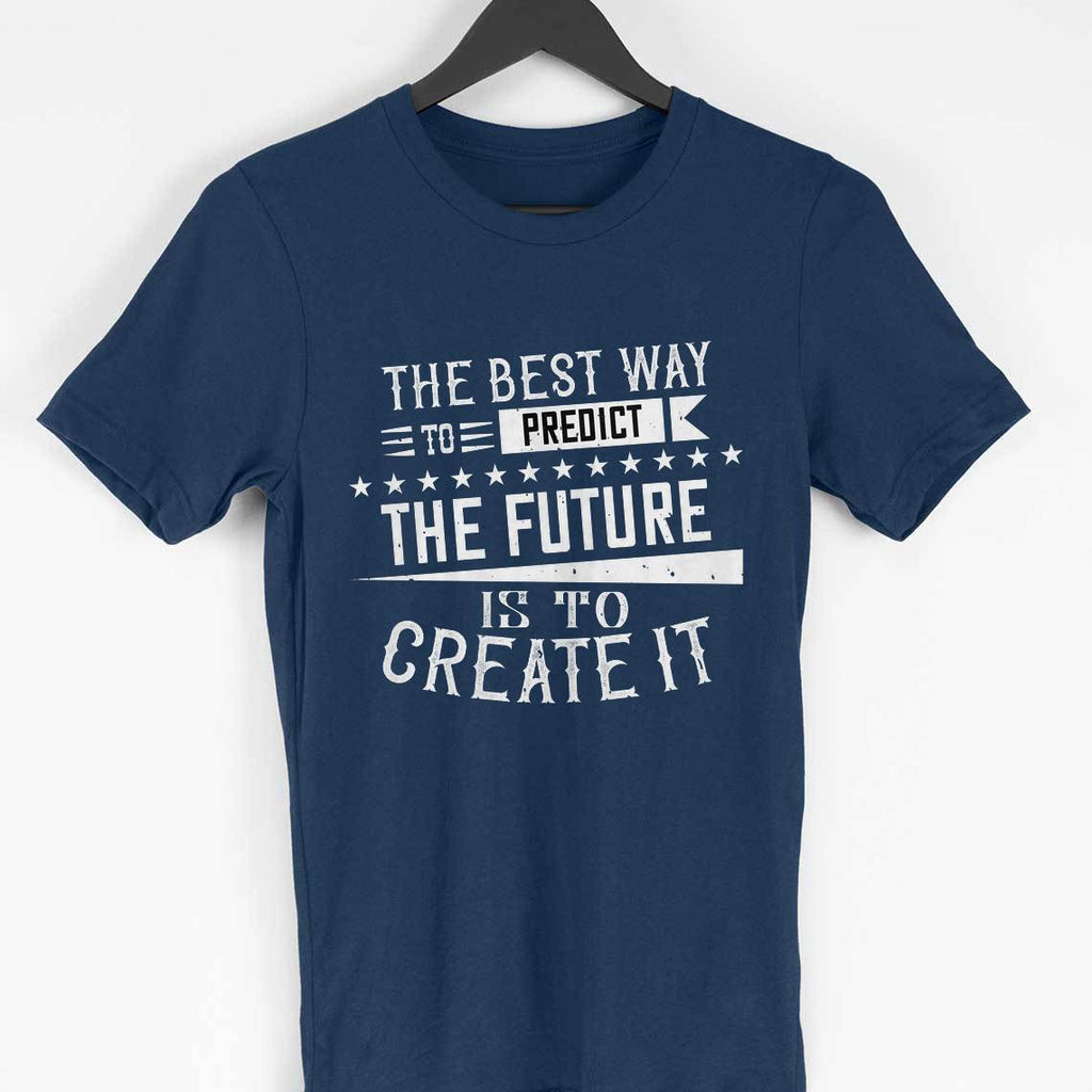 THE FUTURE -NAVY BLUE MEN ROUND NECK T-SHIRT