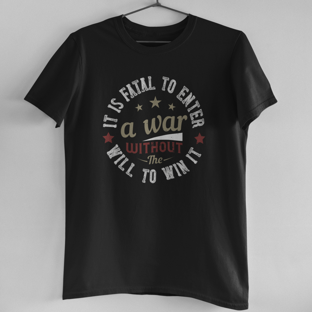 FATAL TO ENTER -WAR-BLACK MEN ROUND NECK T-SHIRT