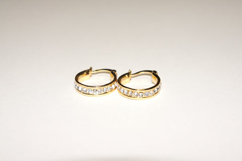 Small Gold Diamante Hoops