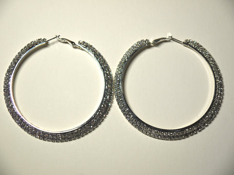 Silver Diamante Hoops