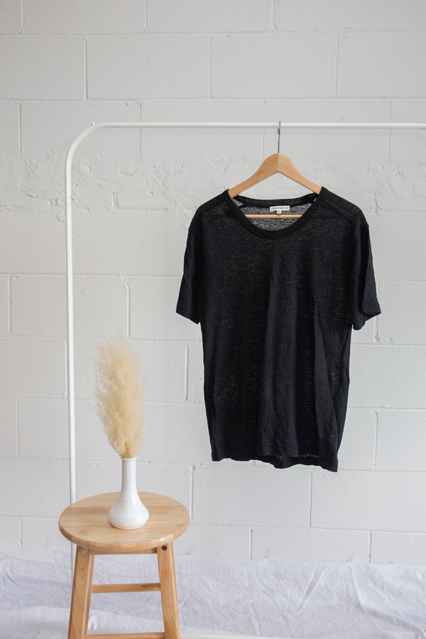 Community Linen Black Tee - XXS