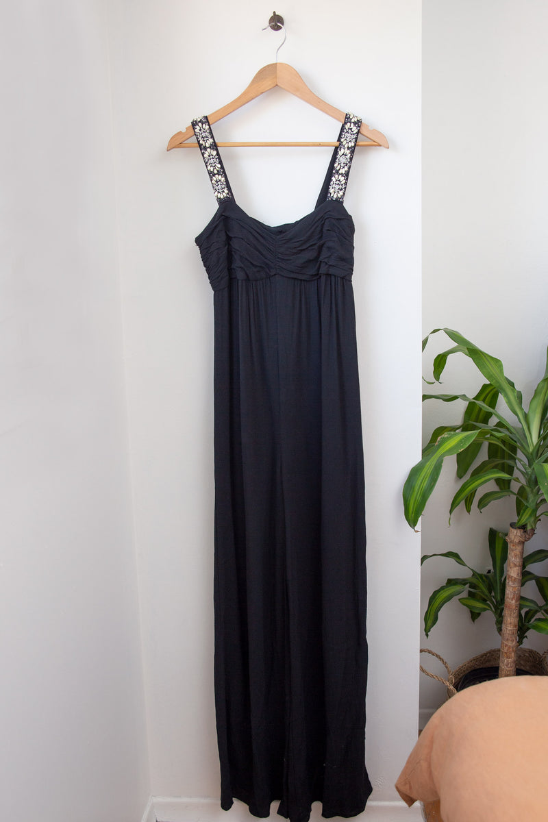 Maxi Jumpsuit with Beaded Straps - S