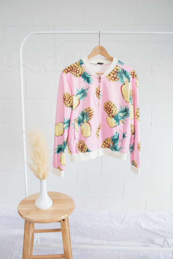 Chloah Pineapple Silk Bomber Jacket - S