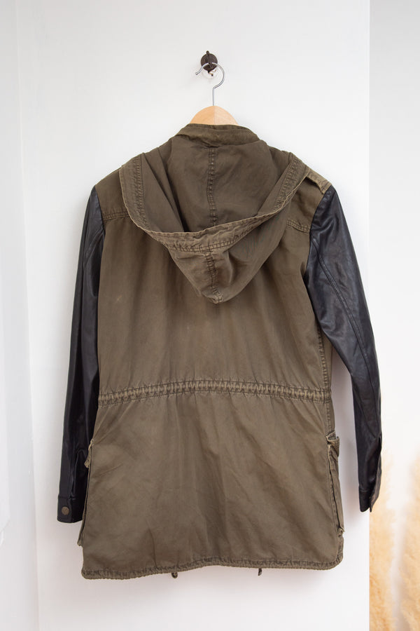 Artizia Olive Green and Faux Leather Jacket - XXS