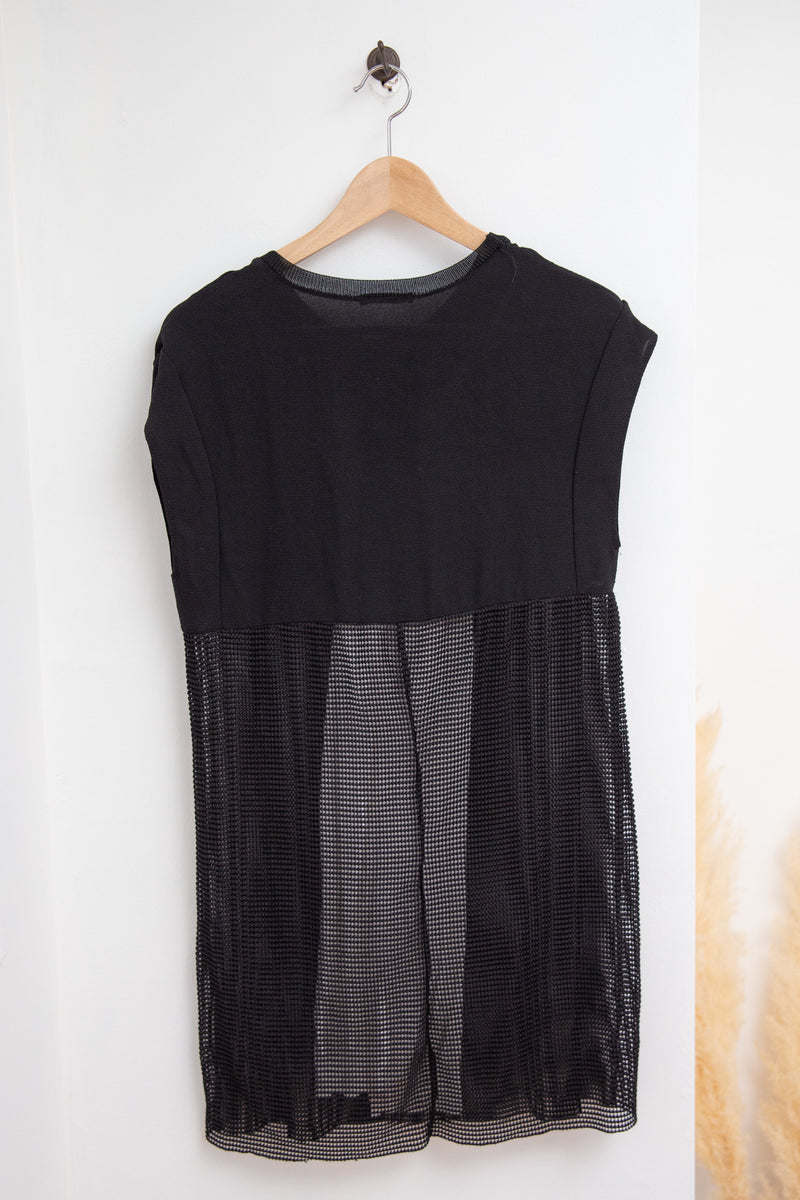 Zara Black Mesh Dress with White - S