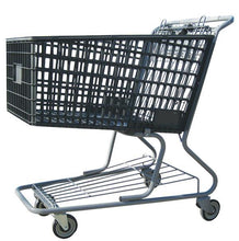 Load image into Gallery viewer, dark gray plastic shopping cart with lower tray 17,000 cu. in.