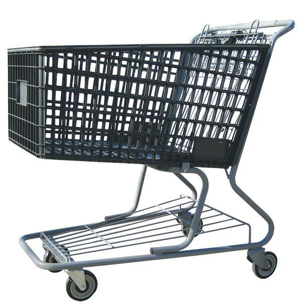 dark gray plastic shopping cart with lower tray 17,000 cu. in.