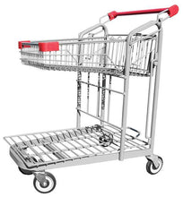 Load image into Gallery viewer, Metal Wire Garden Center Cart With Folding Basket & Red Handle & Bumpers