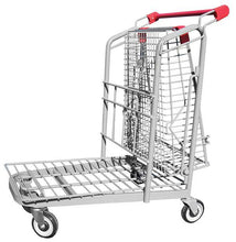 Load image into Gallery viewer, Metal Wire Garden Center Cart With Folded Basket & Red Handle & Bumpers
