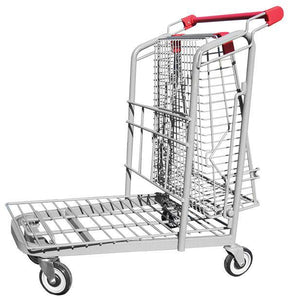 Metal Wire Garden Center Cart With Folded Basket & Red Handle & Bumpers