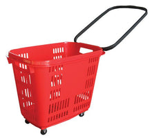 Load image into Gallery viewer, Red Plastic Rolling Hand Basket