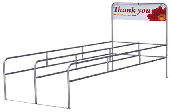 Double Cart Corral With Thank You Sign