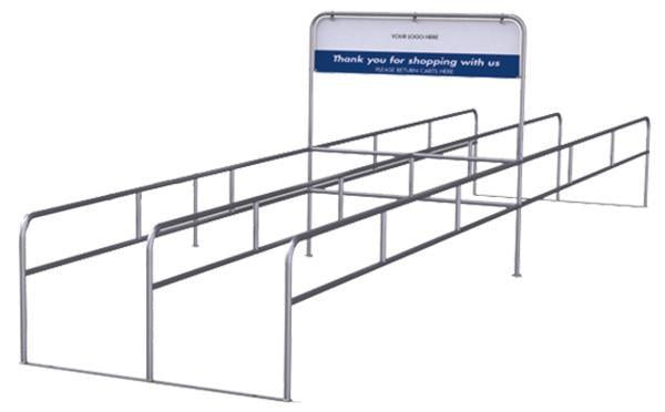 Two-Way Double Cart Corral With Thank You Sign