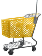 Yellow Plastic Shopping Cart With Anti-Theft Pole
