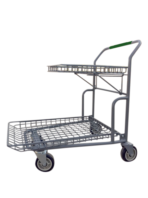 Garden Center Cart With Flip-Up Tray, Green Handle, & Heavy Duty 6