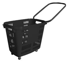Load image into Gallery viewer, Black Plastic Rolling Hand Basket