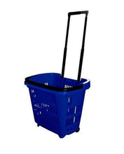 Load image into Gallery viewer, Blue Plastic Rolling Hand Basket With Carrying Handle